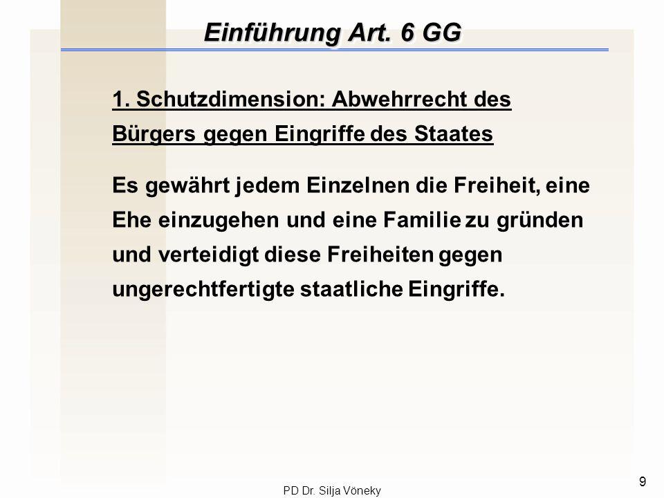 Einführung Art. 6 GG 1. Schutzdimension: Abwehrrecht des Bürgers gegen Eingriffe des Staates.
