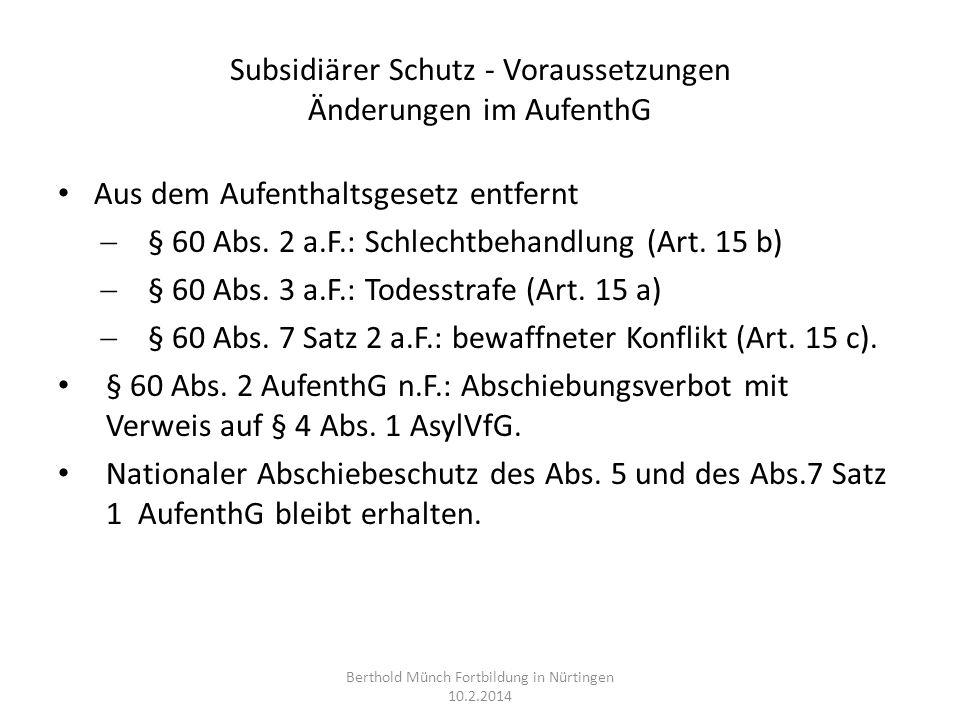 Subsidiärer Schutz - Voraussetzungen Änderungen im AufenthG