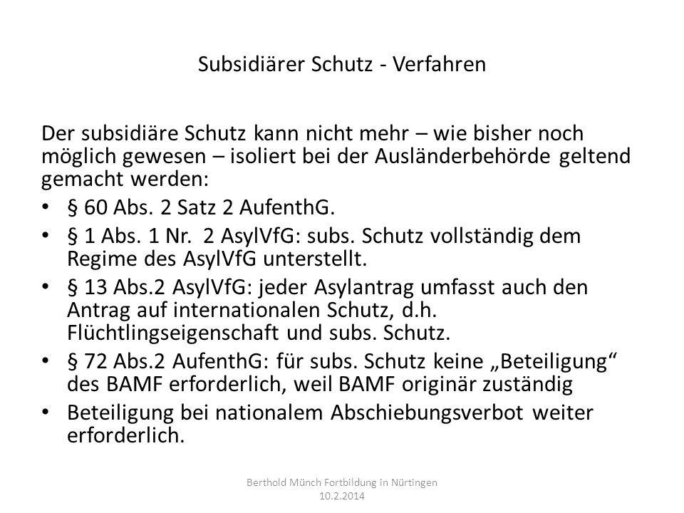 Subsidiärer Schutz - Verfahren
