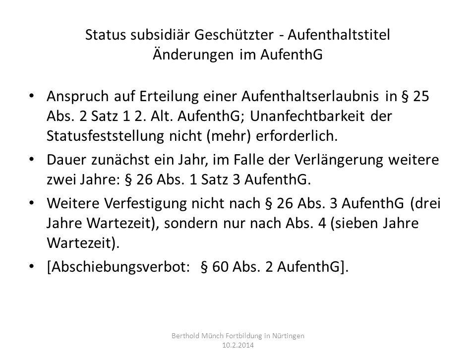 Status subsidiär Geschützter - Aufenthaltstitel Änderungen im AufenthG