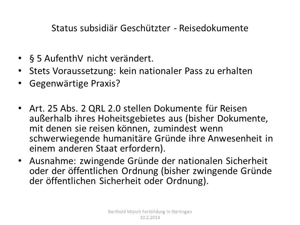 Status subsidiär Geschützter - Reisedokumente