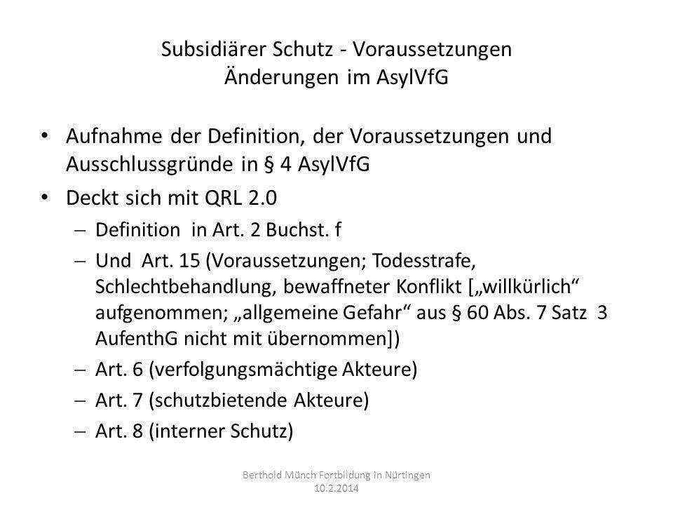 Subsidiärer Schutz - Voraussetzungen Änderungen im AsylVfG