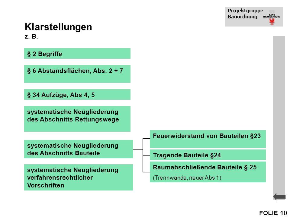 Klarstellungen z. B. § 2 Begriffe § 6 Abstandsflächen, Abs. 2 + 7
