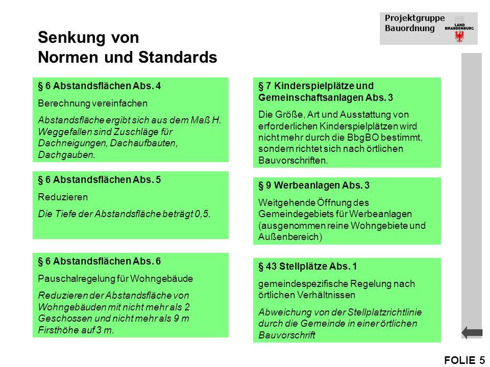 Senkung von Normen und Standards
