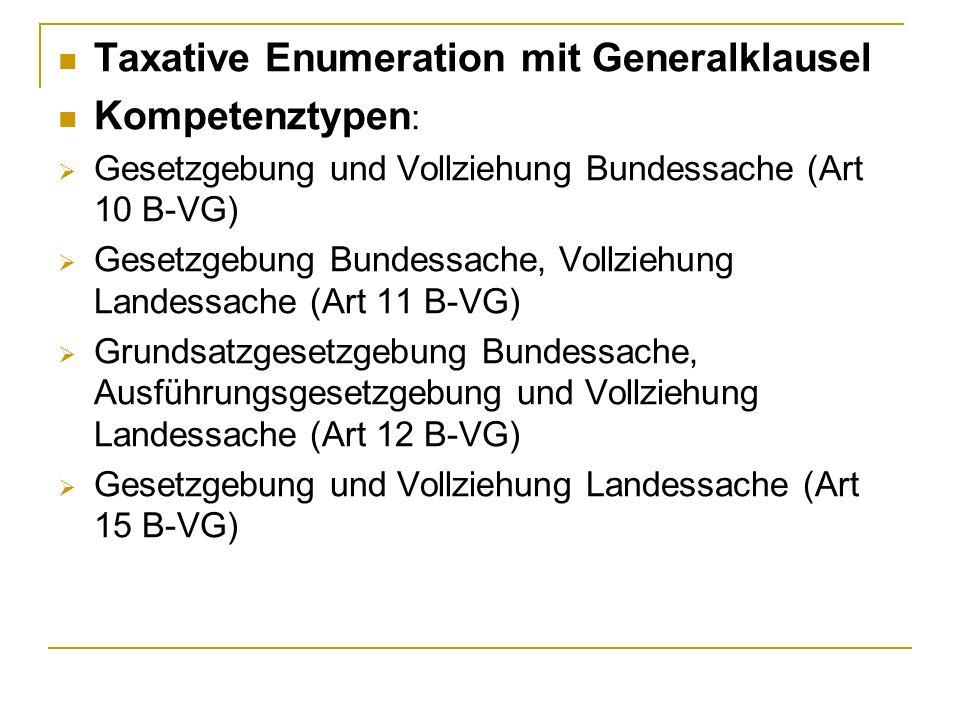 Taxative Enumeration mit Generalklausel Kompetenztypen: