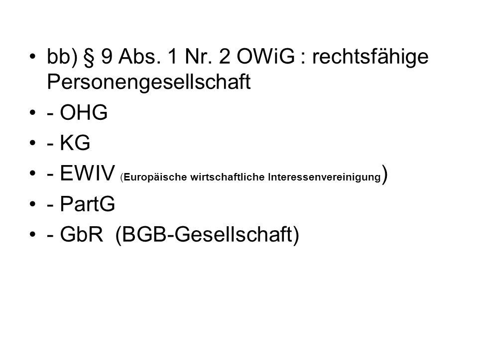 bb) § 9 Abs. 1 Nr. 2 OWiG : rechtsfähige Personengesellschaft