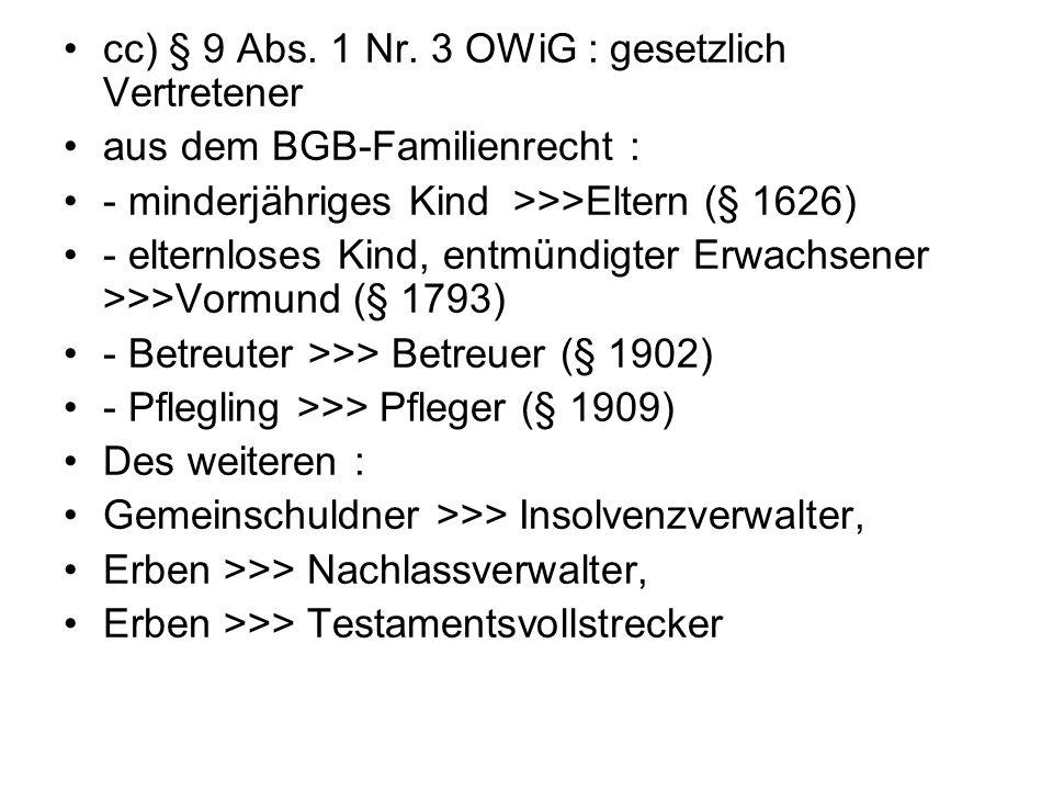 cc) § 9 Abs. 1 Nr. 3 OWiG : gesetzlich Vertretener