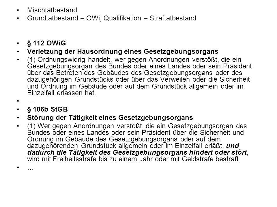 Mischtatbestand Grundtatbestand – OWi; Qualifikation – Straftatbestand. § 112 OWiG. Verletzung der Hausordnung eines Gesetzgebungsorgans.