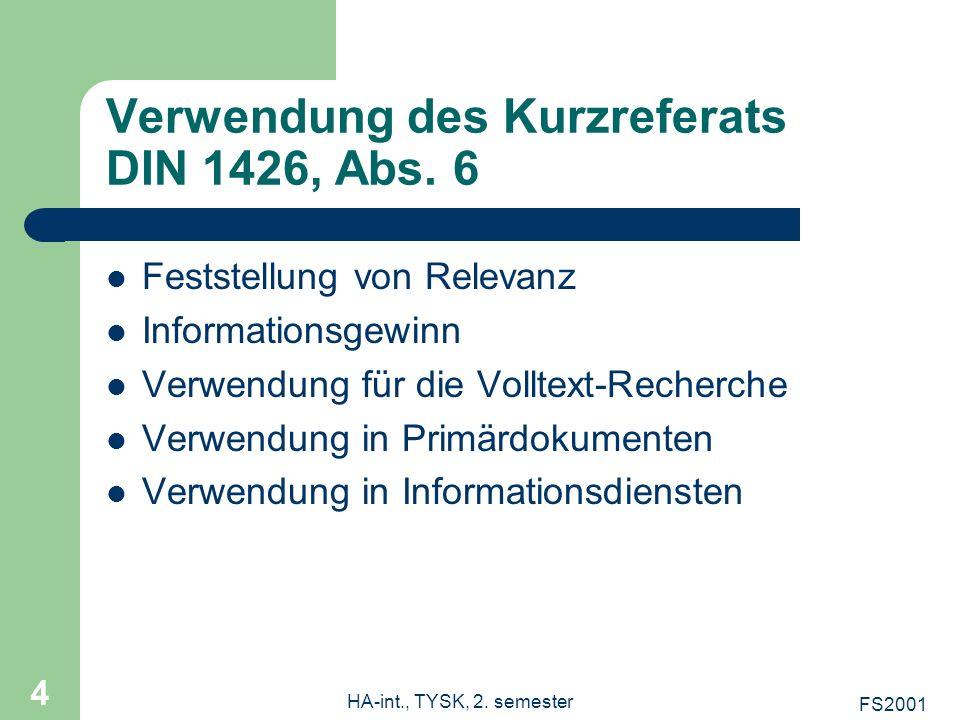 Verwendung des Kurzreferats DIN 1426, Abs. 6