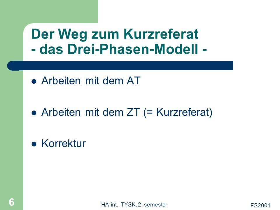 Der Weg zum Kurzreferat - das Drei-Phasen-Modell -