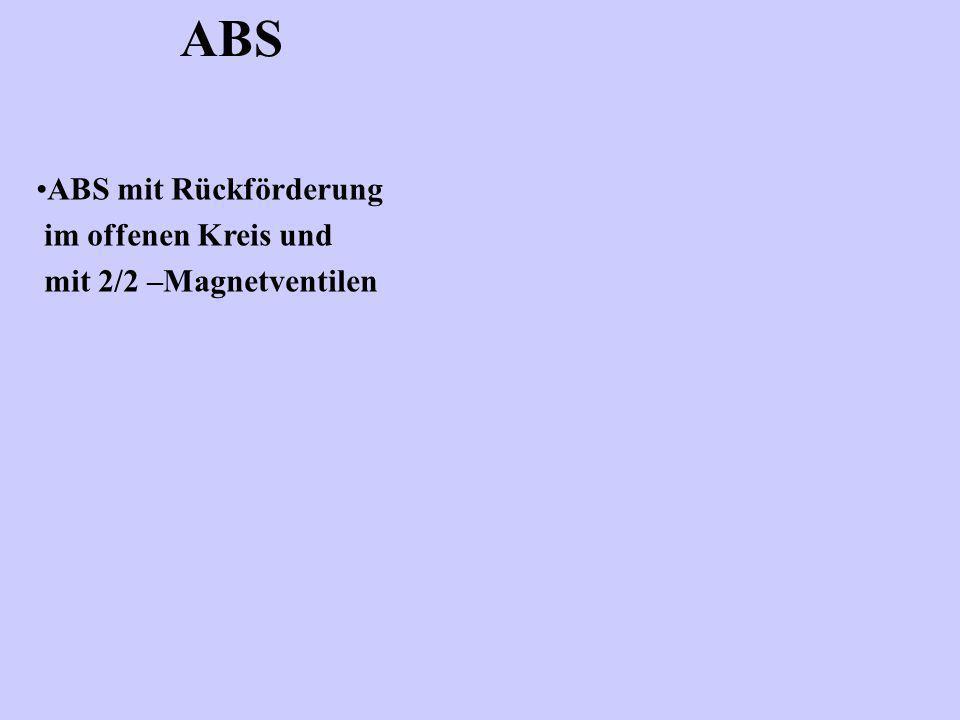 ABS ABS mit Rückförderung im offenen Kreis und mit 2/2 –Magnetventilen
