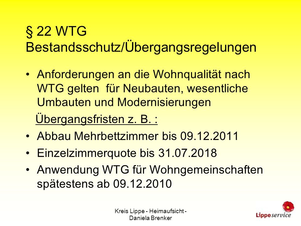 § 22 WTG Bestandsschutz/Übergangsregelungen