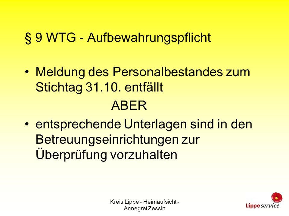 § 9 WTG - Aufbewahrungspflicht
