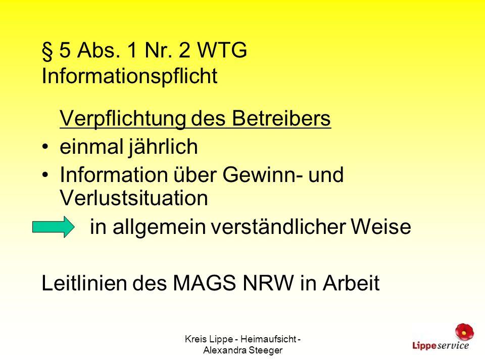 § 5 Abs. 1 Nr. 2 WTG Informationspflicht