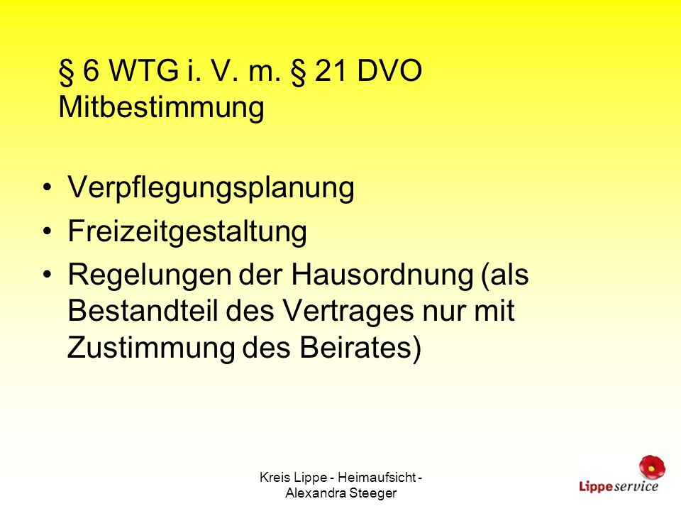 § 6 WTG i. V. m. § 21 DVO Mitbestimmung