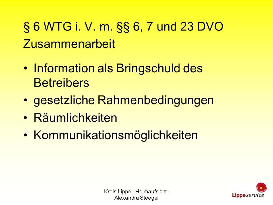 § 6 WTG i. V. m. §§ 6, 7 und 23 DVO Zusammenarbeit
