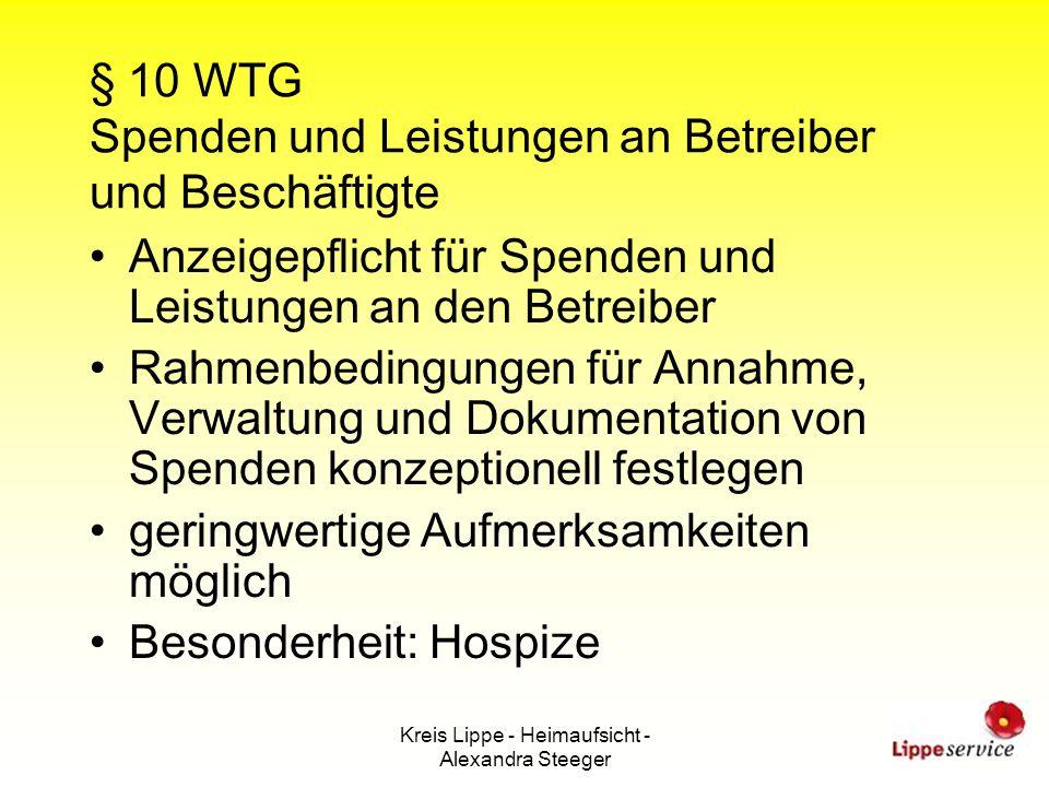§ 10 WTG Spenden und Leistungen an Betreiber und Beschäftigte