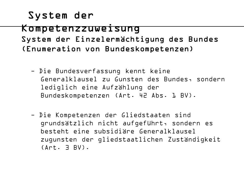 System der Kompetenzzuweisung