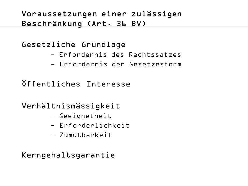 Voraussetzungen einer zulässigen Beschränkung (Art. 36 BV)