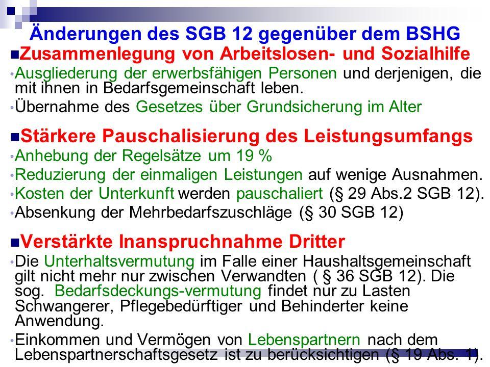 Änderungen des SGB 12 gegenüber dem BSHG