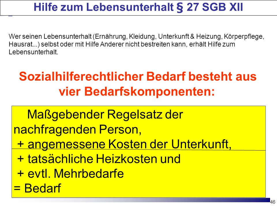 Hilfe zum Lebensunterhalt § 27 SGB XII