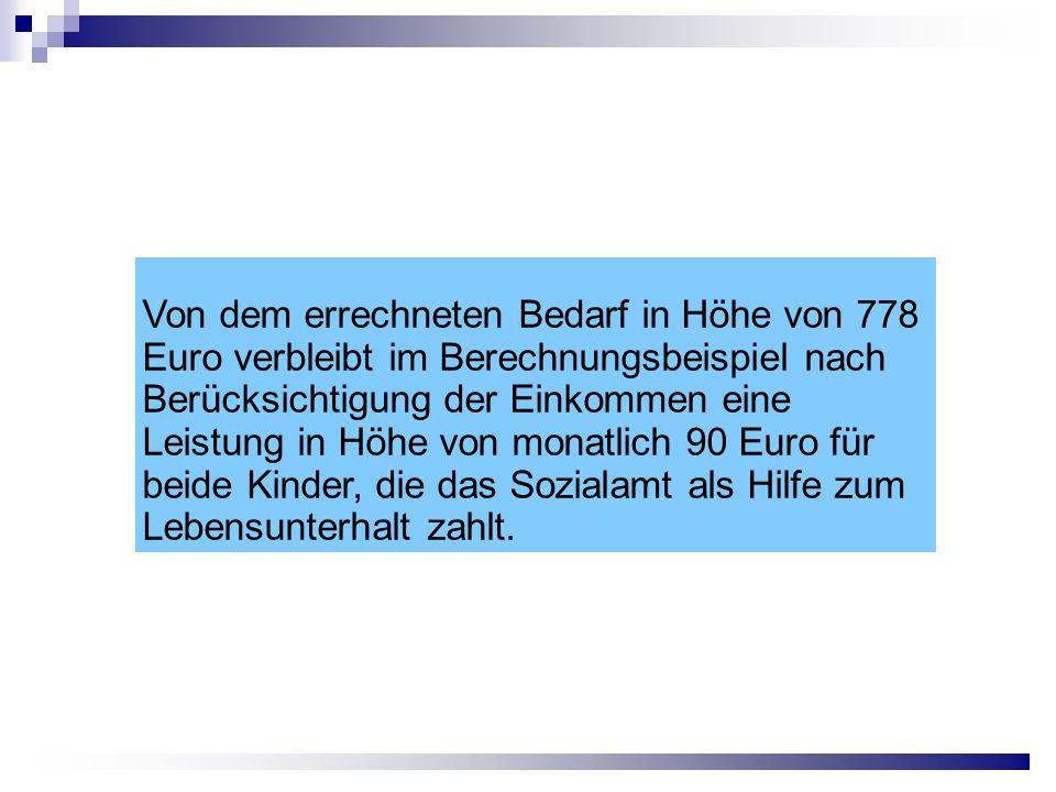 Von dem errechneten Bedarf in Höhe von 778 Euro verbleibt im Berechnungsbeispiel nach Berücksichtigung der Einkommen eine Leistung in Höhe von monatlich 90 Euro für beide Kinder, die das Sozialamt als Hilfe zum Lebensunterhalt zahlt.