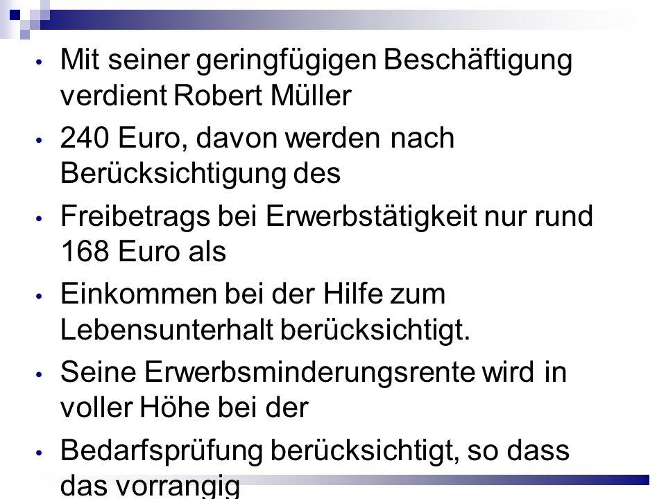 Mit seiner geringfügigen Beschäftigung verdient Robert Müller