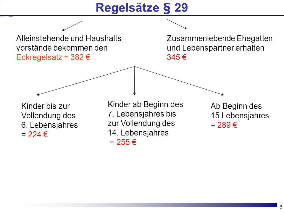 Regelsätze § 29 Alleinstehende und Haushalts-vorstände bekommen den