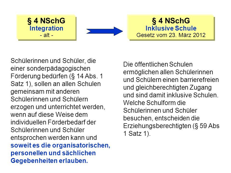 § 4 NSchG § 4 NSchG Integration Inklusive Schule
