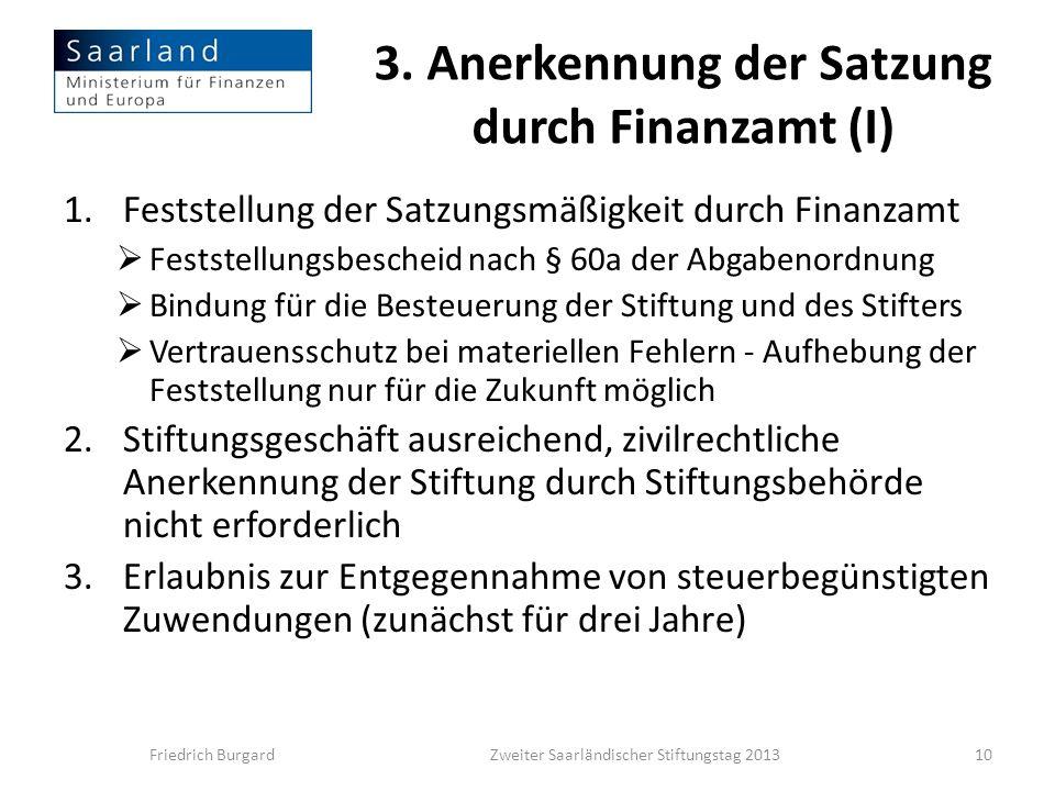 3. Anerkennung der Satzung durch Finanzamt (I)