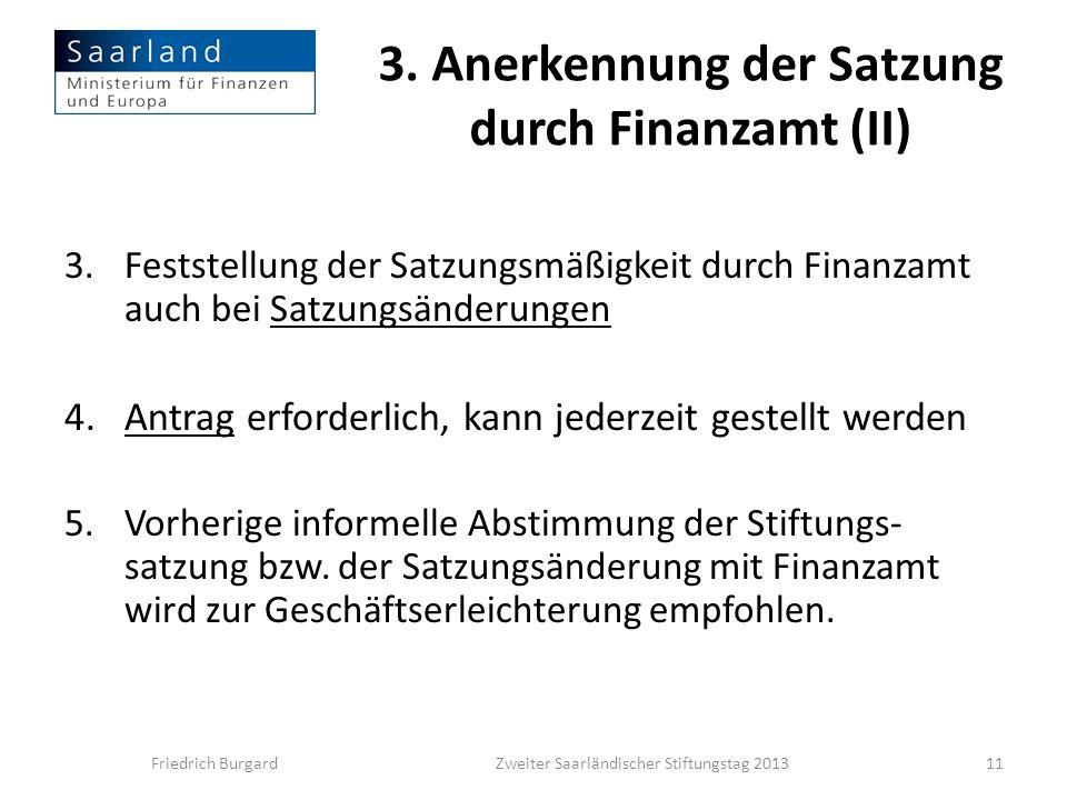 3. Anerkennung der Satzung durch Finanzamt (II)