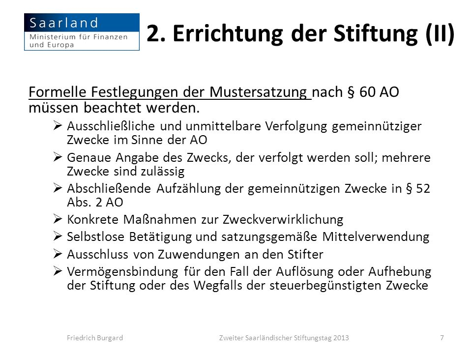 2. Errichtung der Stiftung (II)
