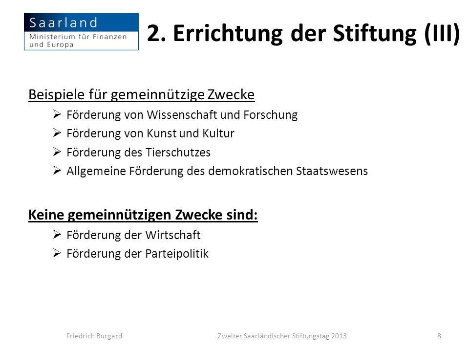 2. Errichtung der Stiftung (III)