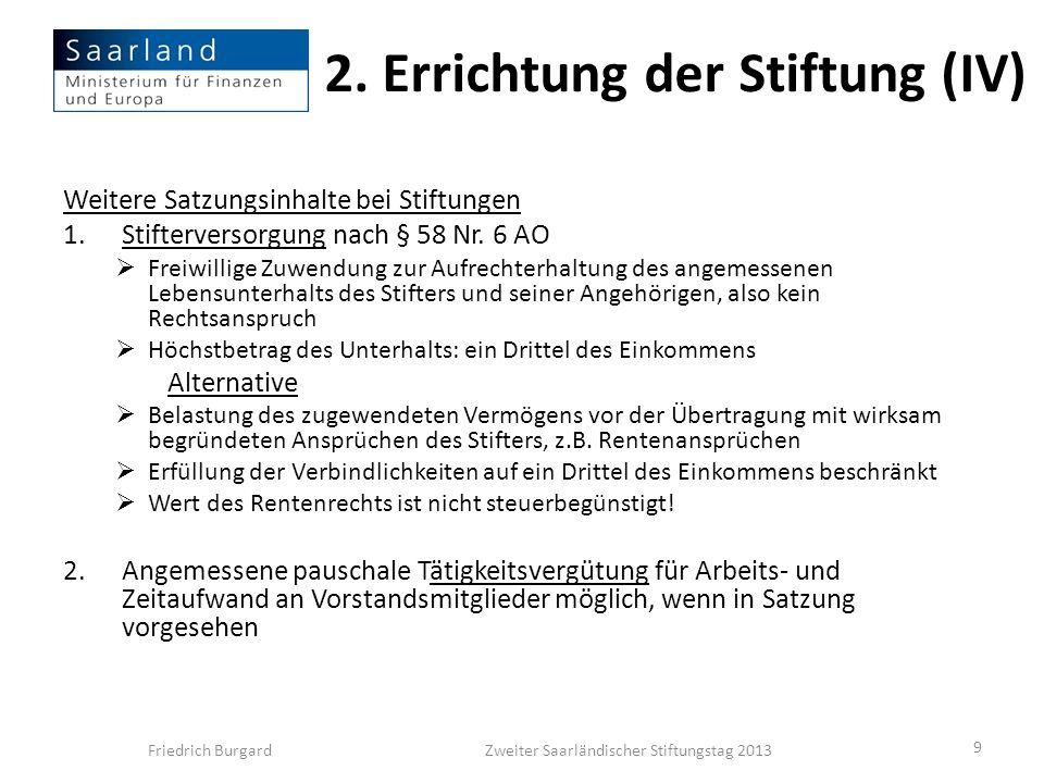 2. Errichtung der Stiftung (IV)