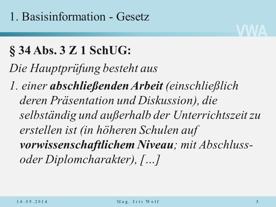 1. Basisinformation - Gesetz