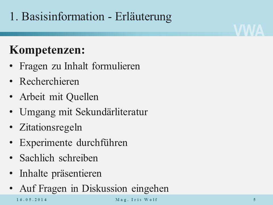 1. Basisinformation - Erläuterung