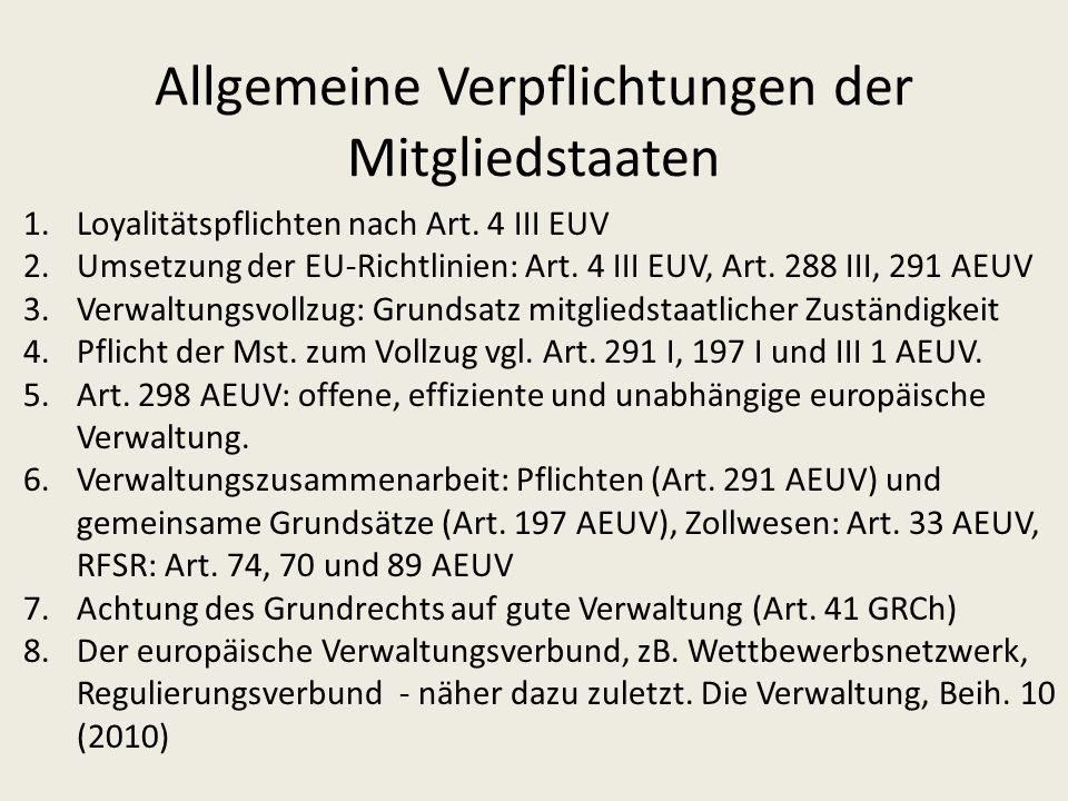 Allgemeine Verpflichtungen der Mitgliedstaaten