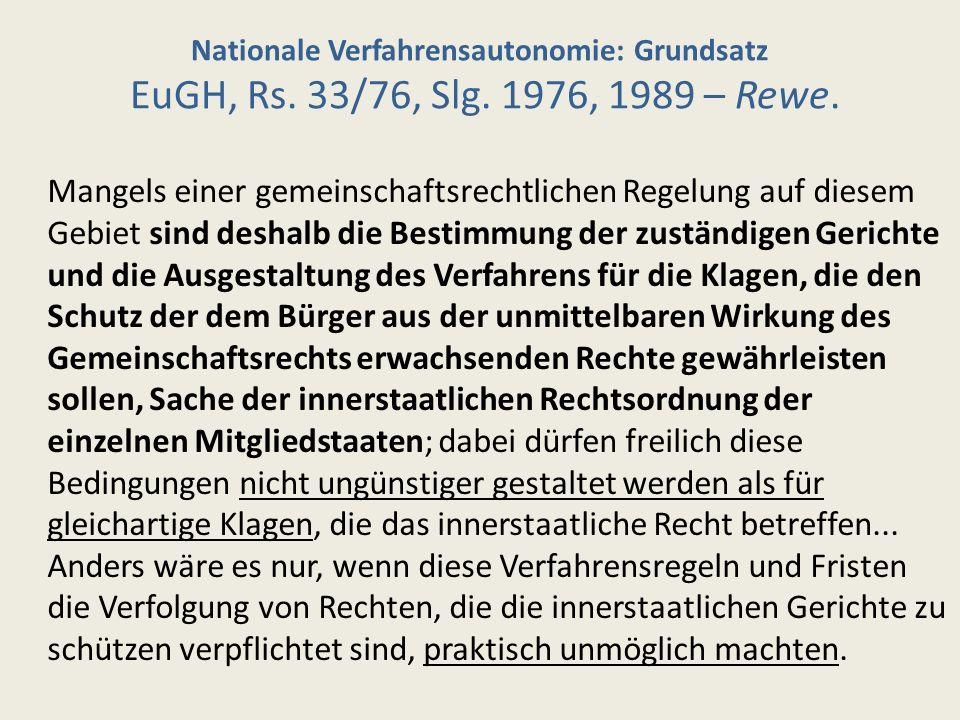 Nationale Verfahrensautonomie: Grundsatz EuGH, Rs. 33/76, Slg