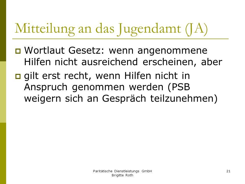 Mitteilung an das Jugendamt (JA)