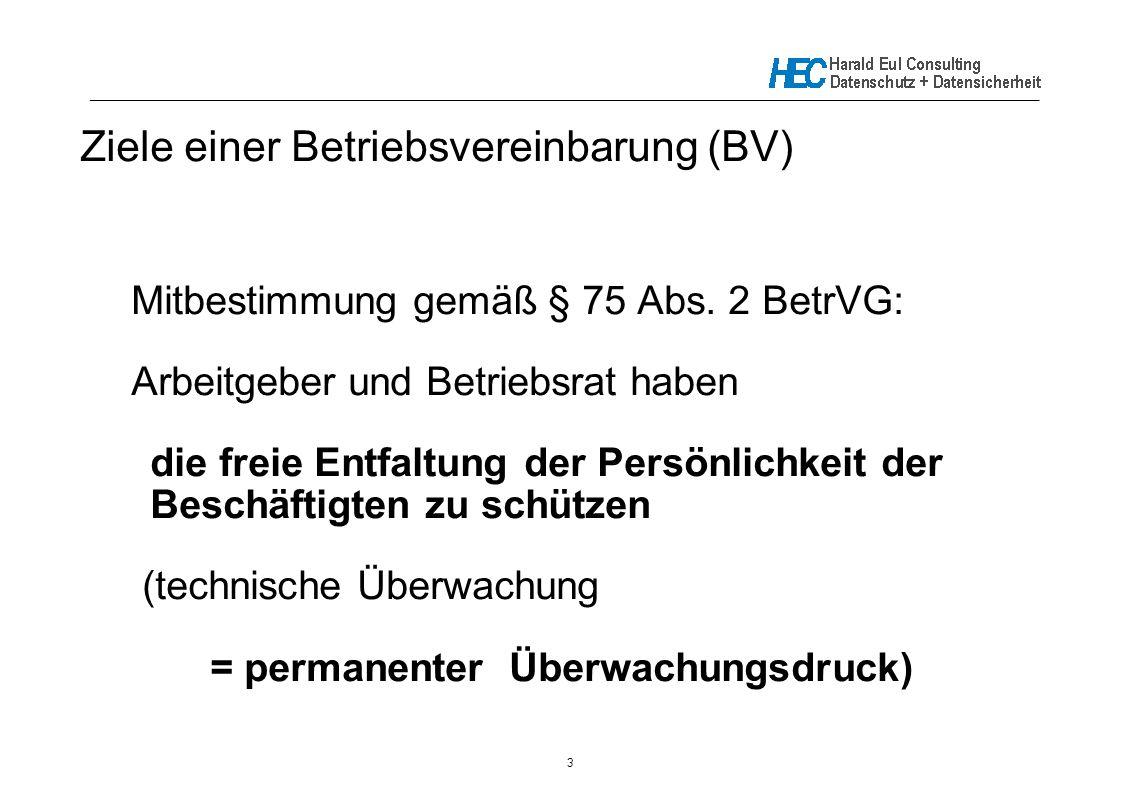 Ziele einer Betriebsvereinbarung (BV)