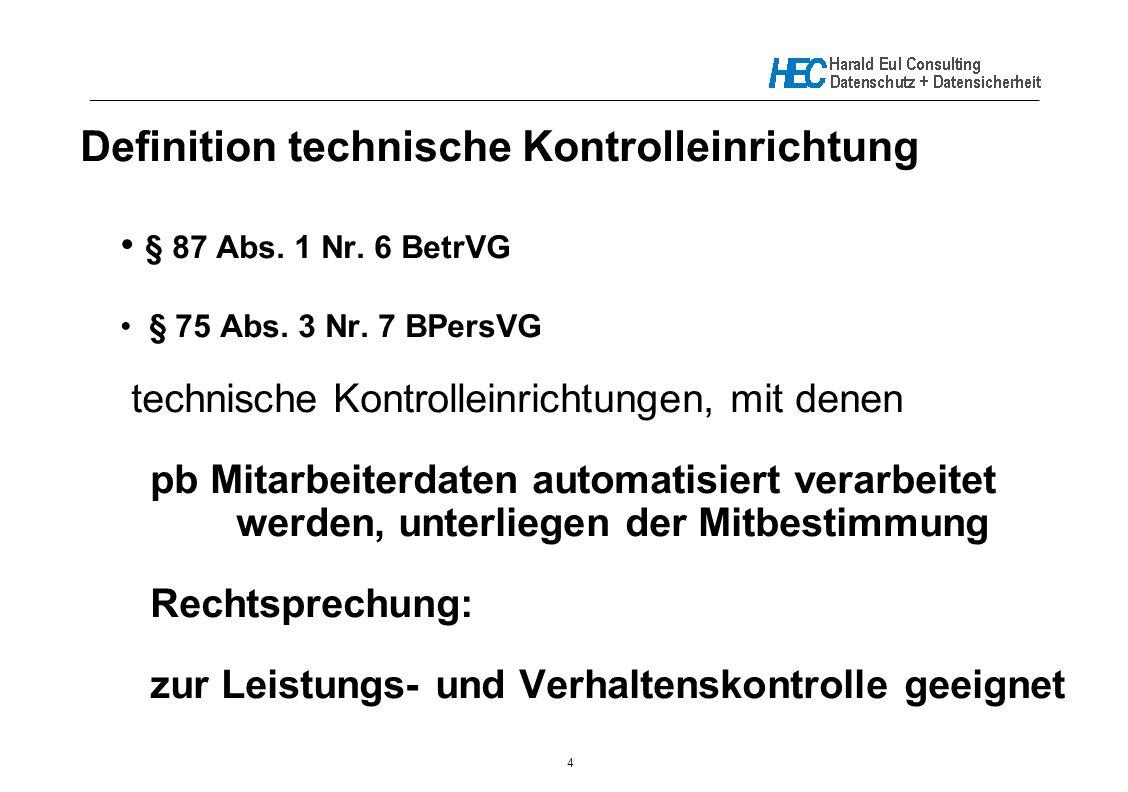 Definition technische Kontrolleinrichtung