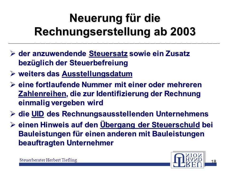 Neuerung für die Rechnungserstellung ab 2003