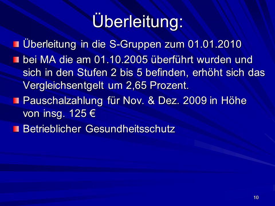 Überleitung: Überleitung in die S-Gruppen zum 01.01.2010