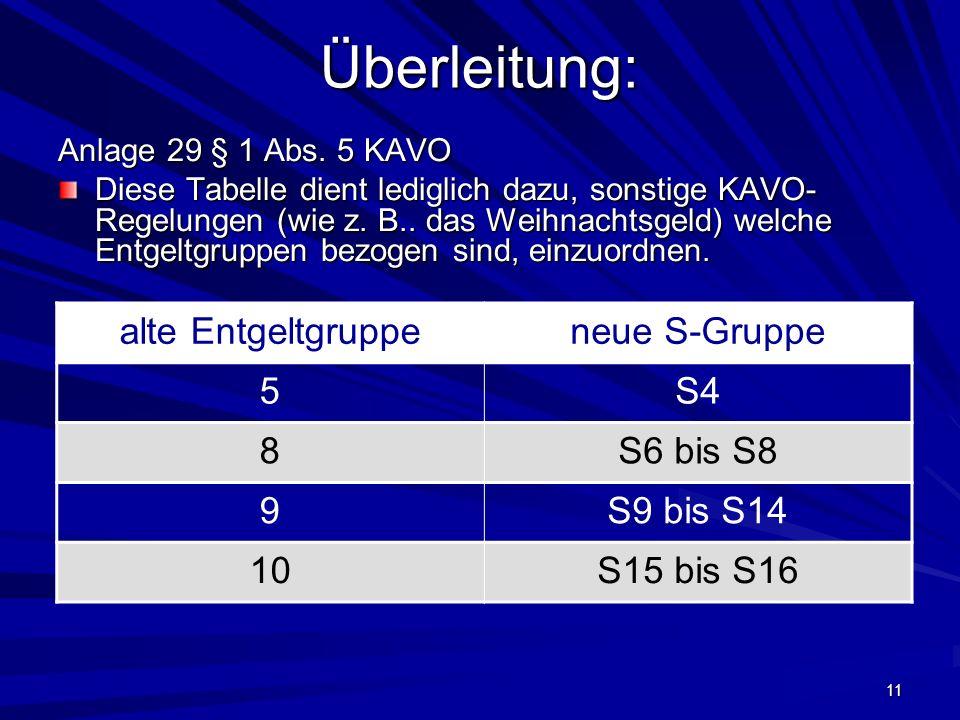 Überleitung: alte Entgeltgruppe neue S-Gruppe 5 S4 8 S6 bis S8 9
