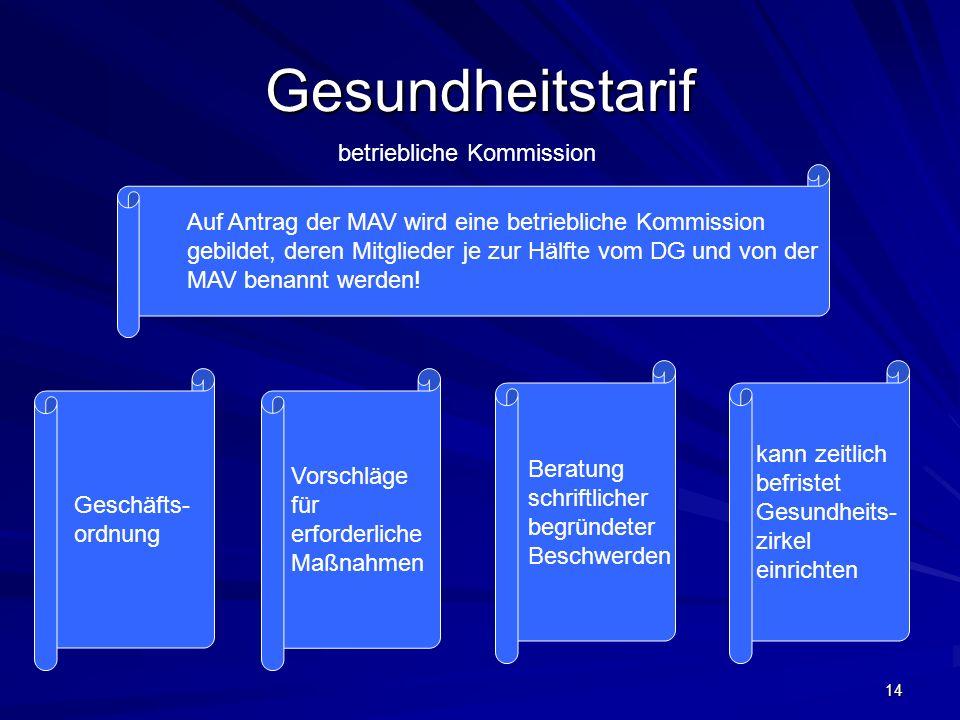 Gesundheitstarif betriebliche Kommission