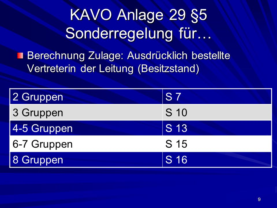 KAVO Anlage 29 §5 Sonderregelung für…