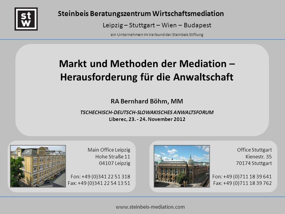 Markt und Methoden der Mediation – Herausforderung für die Anwaltschaft RA Bernhard Böhm, MM TSCHECHISCH-DEUTSCH-SLOWAKISCHES ANWALTSFORUM Liberec, 23. - 24. November 2012