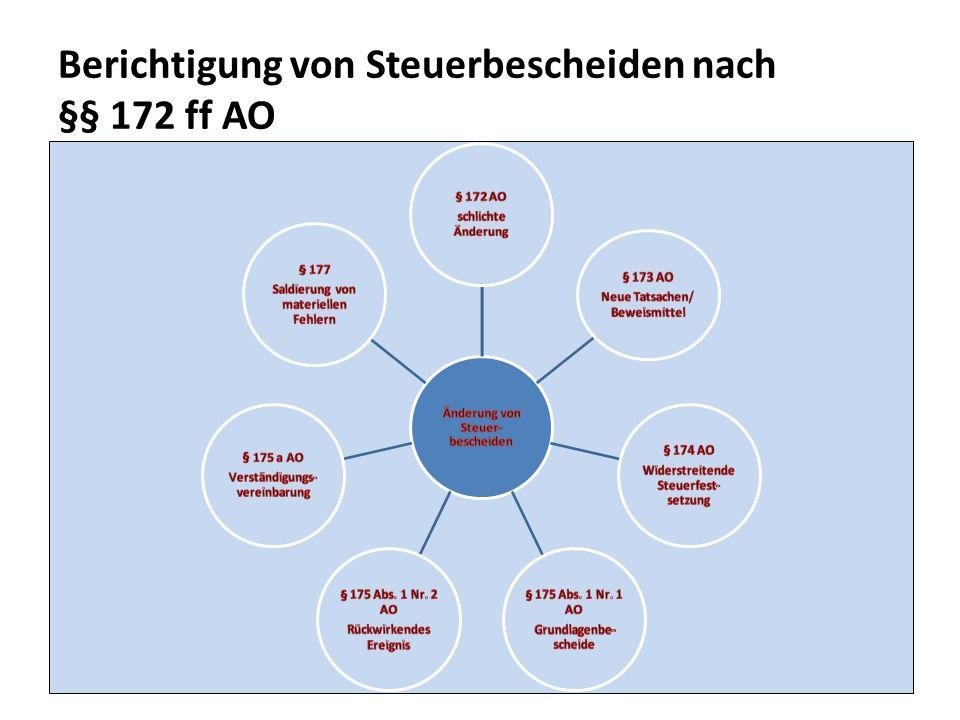 Berichtigung von Steuerbescheiden nach §§ 172 ff AO