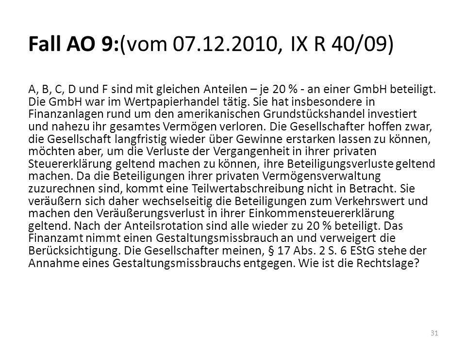 Fall AO 9:(vom 07.12.2010, IX R 40/09)