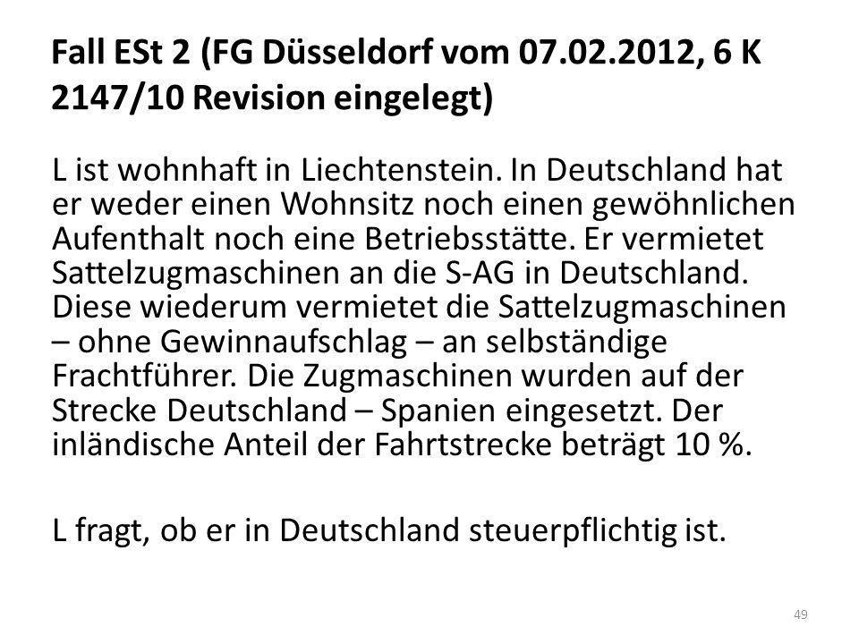 Fall ESt 2 (FG Düsseldorf vom 07. 02